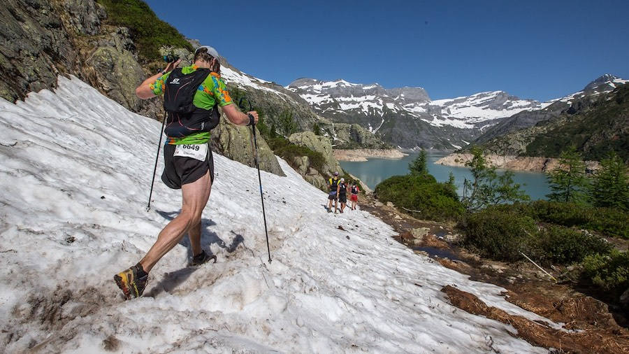 Sur le sublime parcours du 90km du Marathon du Mont-Blanc