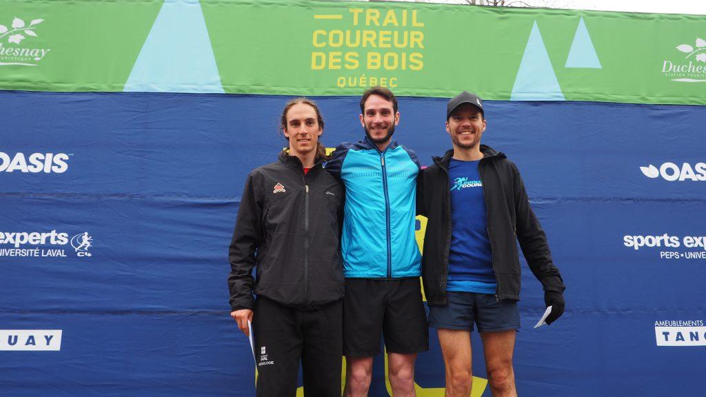 le podium hommes du 18 km du Trail du coureur des bois 2017