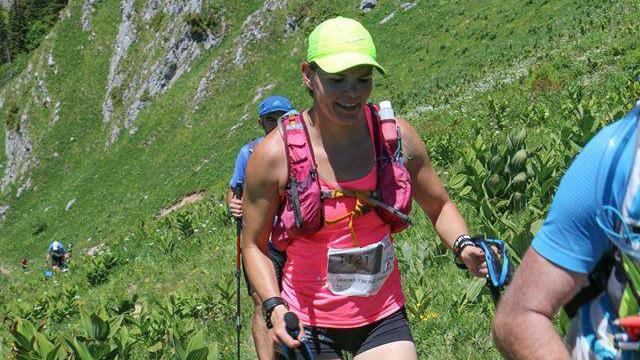 Sarah Verguet Moniz sur le Trail des Crêtes du Chablais, dans les Alpes françaises à l'été 2017 / Photo : Ludovic Garbit