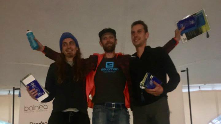 Le podium du 80 km : Alister Gardner (1er), Alexandre Sauvageau (2e) et Rémi Poitras (3e) - Photo : courtoisie