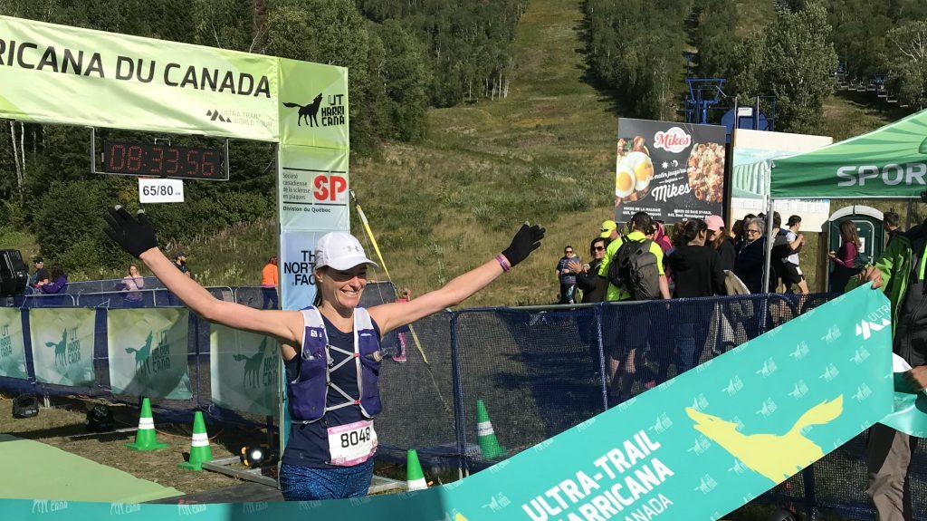 Mylène Sansoucy lors de sa victoire au 80 km de l'UTHC 2018 - Photo : Julien Barrette