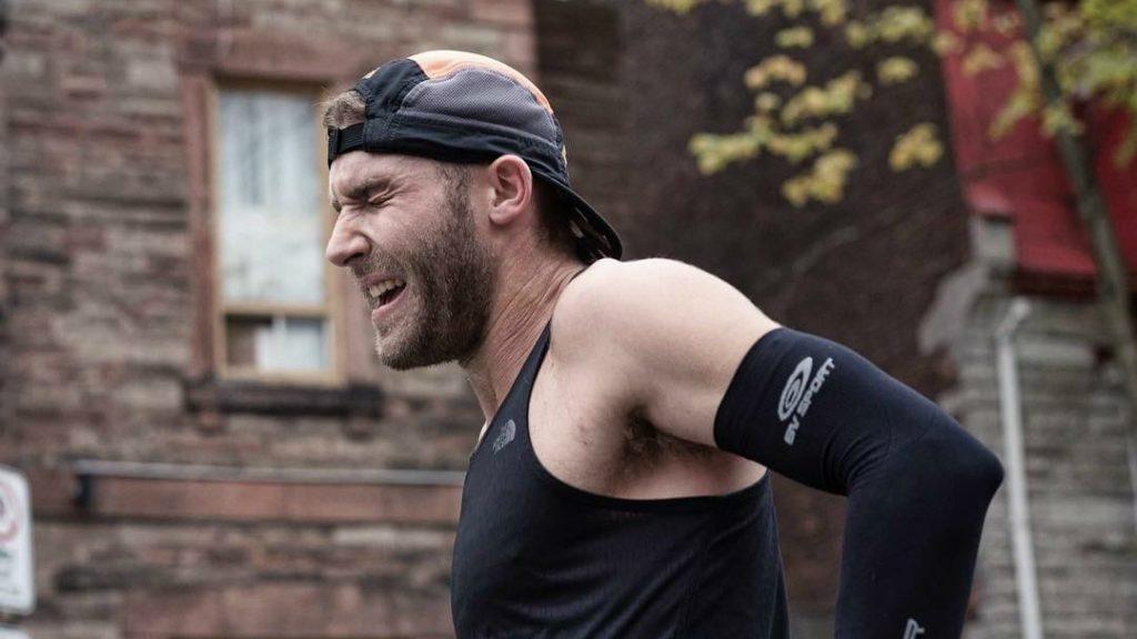 Simon-Pierre Leblanc après un gros effort lors du marathon de Québec - Photo : Michelle Grenier