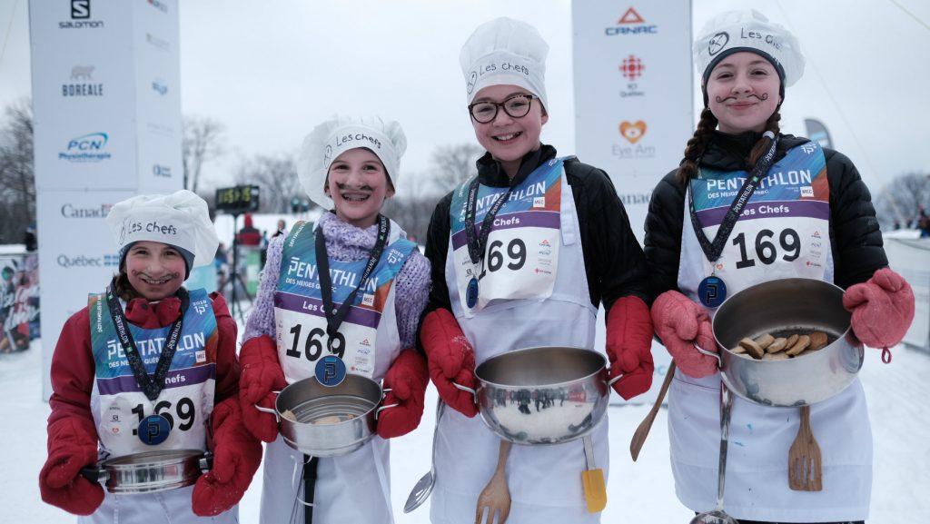 L'équipe Les Chefs a remporté cette année le trophée de la Convivialité - photo : Groupe Pentathlon Alice Ouellet, 9 ans Anne Ouellet, 11 ans Juliette Etienne-Labelle, 12 ans Ella Etienne-Labelle, 14 ans