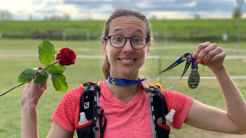 Émilie Dalibert à l'arrivée du Trail des 2 Amants 2019 - Photo : Nicolas Fréret