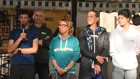 Sarah Verguet Moniz (à droite) lors de la présentation des athlètes élites de la VVX en compagnie de Kilian Jornet, Francesca Canepa et Meghan Laws - Photo : Patricia Verguet