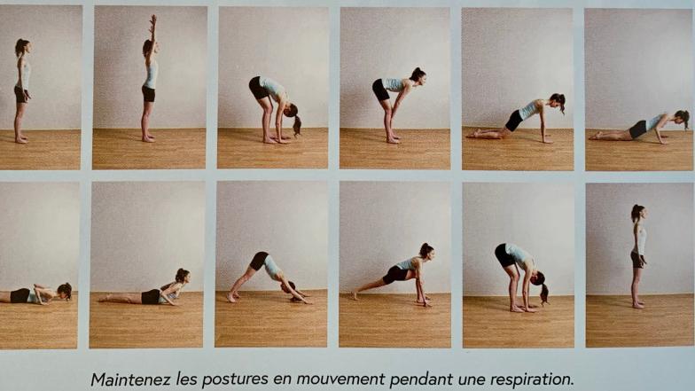 L'enchaînement de postures appelé « salutation au soleil » - Photo tirée du livre Yoga pour sportifs