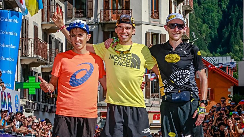 Le podium de l'UTMB 2019 : Xavier Thévenard, Pau Capell et Scott Hawker (de gauche à droite) - Photo : Christophe Pallot / UTMB
