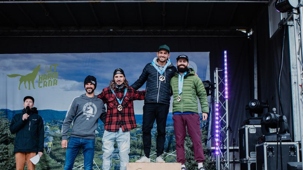 Le podium masculin du 65 km de l'Ultra-Trail Harricana 2019 - Photo : Louis Laliberté