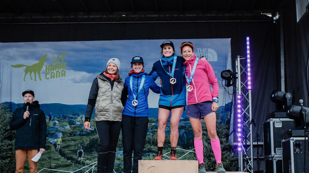 Le podium féminin du 65 km de l'Ultra-Trail Harricana 2019 - Photo : Louis Laliberté