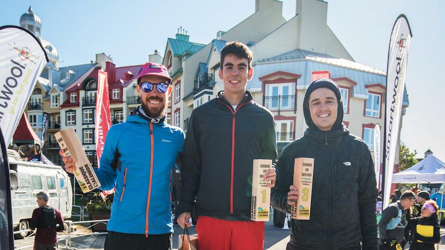 Le podium masculin du 30 km à la Classique Salomon Tremblant 2019 - Photo : Classique Salomon Tremblant