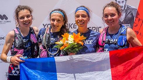 L'équipe de France féminine championne du monde de trail 2019 (de gauche à droite: Clémentine Geoffray, Adeline Roche, Blandine L'Hirondel et Sarah Vieuille)
