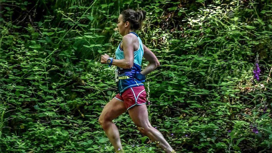 Sarah Vieuille sur le Trail des Grandes Gueules 2019 (victoire et 2e au général du 25km)