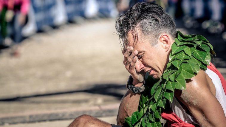 Sébastien Spehler à l'arrivée du Grand Trail du Festival des Templiers 2018