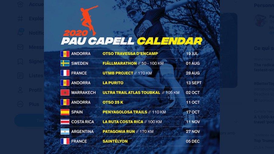 Le programme de la saison 2020 de Pau Capell lorsqu'il a dévoilé en juillet