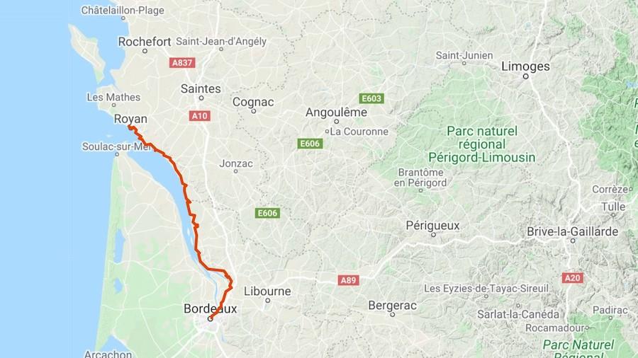 La trace entre Bordeaux et Royan suit l'estuaire de la Gironde